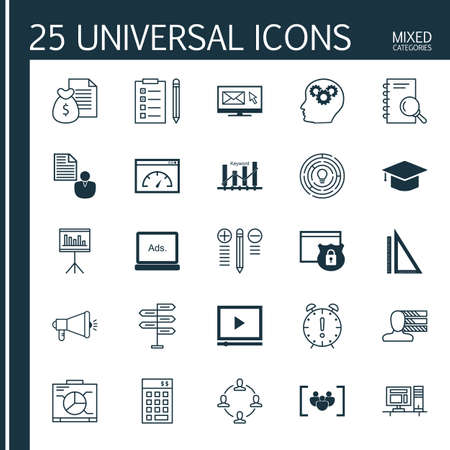 categories: Universal Icons Set of Mixed Categories. Contains Icons on Topics Such as Deadline, Focus Group, Video Advertising and more. Icons Can Be Used For Web, Mobile and Infographic Design.