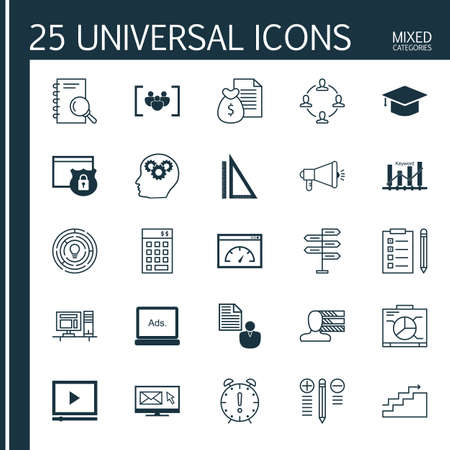 task list: Universal Icons Set of Mixed Categories. Contains Icons on Topics Such as Graph, Task List, Creativity and more. Icons Can Be Used For Web, Mobile and Infographic Design.