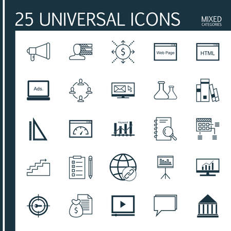 categories: Universal Icons Set of Mixed Categories. Contains Icons on Topics Such as Cash Flow, Research, Statistics and more. Icons Can Be Used For Web, Mobile and Infographic Design.