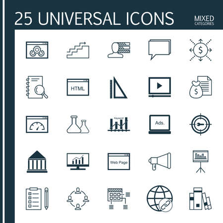 categories: Universal Icons Set of Mixed Categories. Contains Icons on Topics Such as Money Revenue, Book, Flask and more. Icons Can Be Used For Web, Mobile and Infographic Design. Illustration