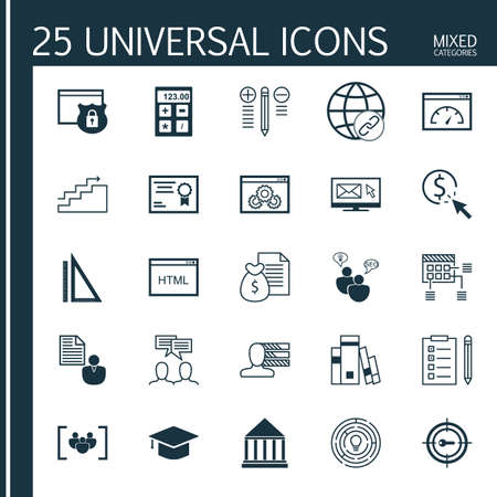 categories: Universal Icons Set of Mixed Categories. Contains Icons on Topics Such as Personality, Email Marketing, Link Building and more. Icons Can Be Used For Web, Mobile and Infographic Design.