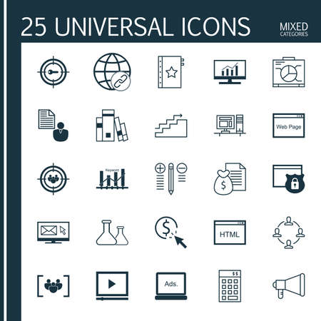 categories: Universal Icons Set of Mixed Categories. Contains Icons on Topics Such as Investment, Workspace, Charts and more. Icons Can Be Used For Web, Mobile and Infographic Design. Illustration