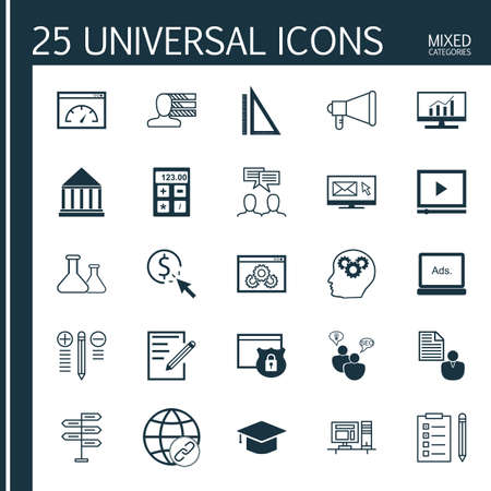 client meeting: Universal Icons Set of Mixed Categories. Contains Icons on Topics Such as Client Brief, Team Meeting, Video Advertising and more. Icons Can Be Used For Web, Mobile and Infographic Design.