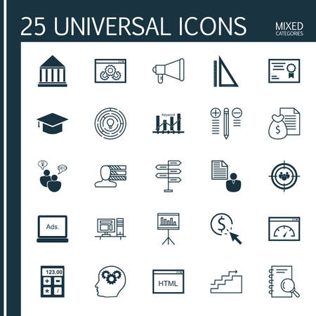 categories: Universal Icons Set of Mixed Categories. Contains Icons on Topics Such as Calculator, Personality, Research and more. Icons Can Be Used For Web, Mobile and Infographic Design.