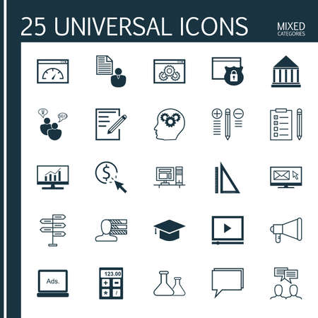 categories: Universal Icons Set of Mixed Categories. Contains Icons on Topics Such as Best Solution, Task List, Hat and more. Icons Can Be Used For Web, Mobile and Infographic Design.