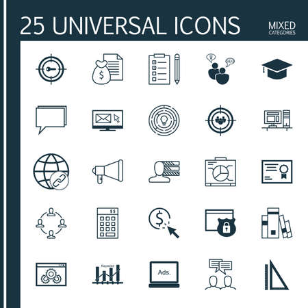 categories: Universal Icons Set of Mixed Categories. Contains Icons on Topics Such as Task List, Money Revenue, Email Marketing and more. Icons Can Be Used For Web, Mobile and Infographic Design.