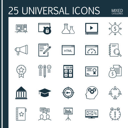 categories: Universal Icons Set of Mixed Categories. Contains Icons on Topics Such as Award, Target Keywords, Research and more. Icons Can Be Used For Web, Mobile and Infographic Design.