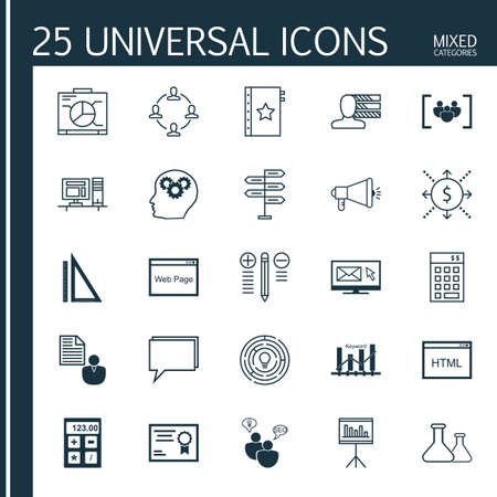 categories: Universal Icons Set of Mixed Categories. Contains Icons on Topics Such as Decision Making, Teamwork, Diploma and more. Icons Can Be Used For Web, Mobile and Infographic Design. Illustration