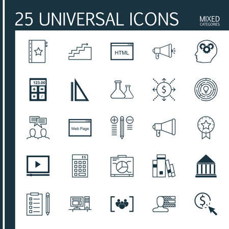 categories: Universal Icons Set of Mixed Categories. Contains Icons on Topics Such as Quality Management, HTML Code, Workspace and more. Icons Can Be Used For Web, Mobile and Infographic Design.