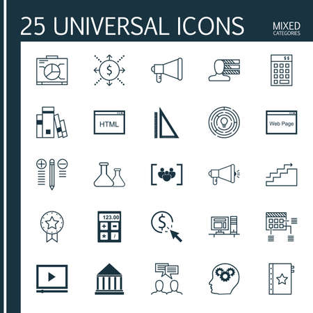 categories: Universal Icons Set of Mixed Categories. Contains Icons on Topics Such as Personality, Investment, Quality Management and more. Icons Can Be Used For Web, Mobile and Infographic Design. Illustration