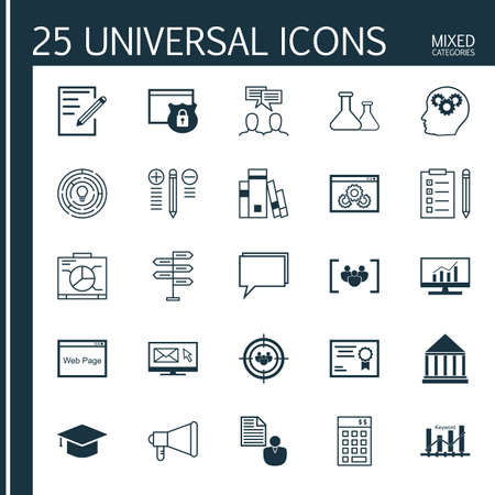 keyword: Set Of Universal Icons On Web Page, Keyword Ranking, Focus Group And More. Premium Quality Vector Illustration For Web, Mobile And Infographic Design. Illustration