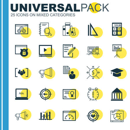 cash book: Set Of Universal Icons On Promotion, Research, Calculator And More. Premium Quality Vector Illustration For Web, Mobile And Infographic Design. Illustration
