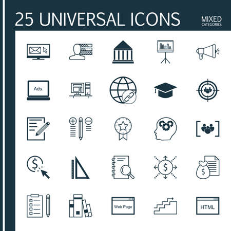 cash book: Set Of Universal Icons On Book, Personality, University And More. Premium Quality Vector Illustration For Web, Mobile And Infographic Design.