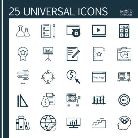 keyword: Set Of Universal Icons On Keyword Ranking, Rulers, Target Keywords And More. Premium Quality Vector Illustration For Web, Mobile And Infographic Design.
