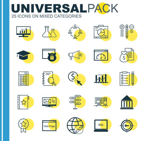 comprehensive: Set Of Universal Icons On University, Best Solution, Comprehensive Analytics And More. Premium Quality Vector Illustration For Web, Mobile And Infographic Design. Illustration