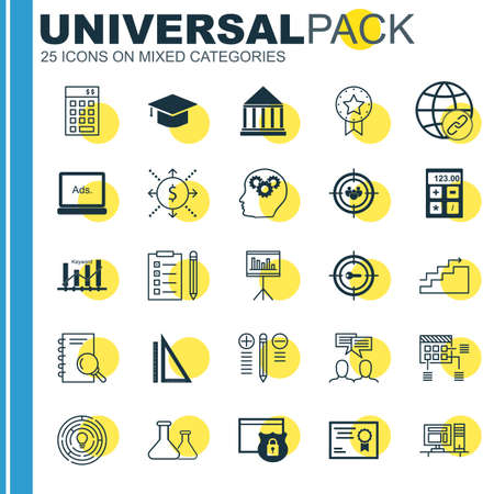keyword: Set Of Universal Icons On Rulers, Keyword Ranking, Creativity And More. Premium Quality Vector Illustration For Web, Mobile And Infographic Design.