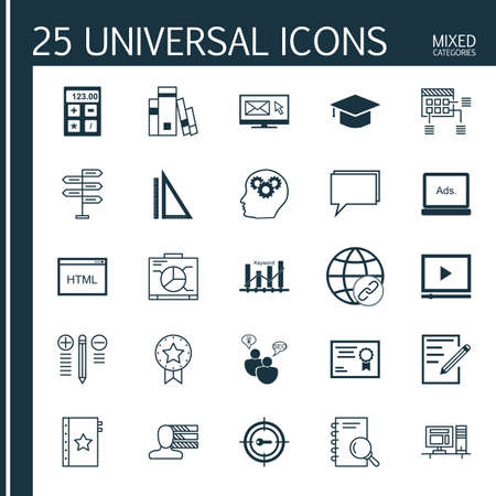 keyword research: Set Of Universal Icons On Research, Keyword Ranking, Hat And More. Premium Quality Vector Illustration For Web, Mobile And Infographic Design. Illustration