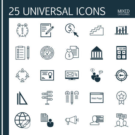 keyword: Set Of Universal Icons On Keyword Ranking, Decision Making, Creativity And More. Premium Quality Vector Illustration For Web, Mobile And Infographic Design.