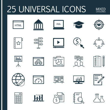 comprehensive: Set Of Universal Icons On Teamwork, Graph, Comprehensive Analytics And More. Premium Quality Vector Illustration For Web, Mobile And Infographic Design.