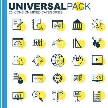 keyword research: Set Of Universal Icons On Charts, Keyword Ranking, Research And More. Premium Quality Vector Illustration For Web, Mobile And Infographic Design. Illustration