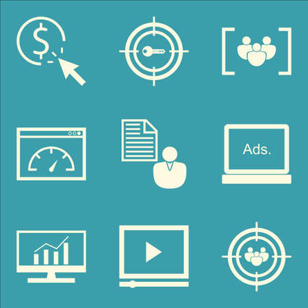 comprehensive: Set Of SEO, Marketing And Advertising Icons On Comprehensive Analytics, Audience Targeting, Client Brief And More. Premium Quality EPS10 Vector Illustration For Mobile, App, UI Design.