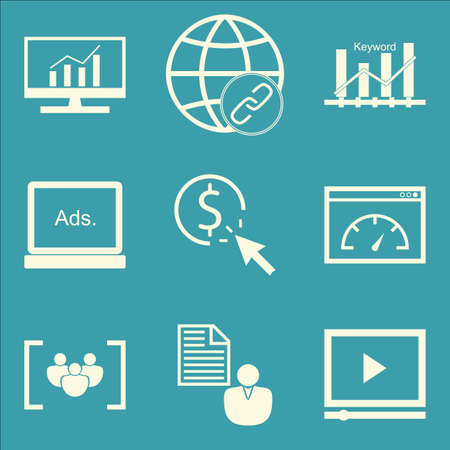 link building: Set Of SEO, Marketing And Advertising Icons On Link Building, Client Brief, Comprehensive Analytics And More. Premium Quality EPS10 Vector Illustration For Mobile, App, UI Design.