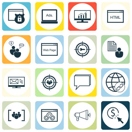comprehensive: Set Of SEO, Marketing And Advertising Icons On Web Page, Viral Marketing, Comprehensive Analytics And More. Premium Quality EPS10 Vector Illustration For Mobile, App, UI Design.