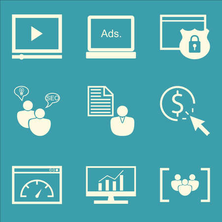 brief: Set Of SEO, Marketing And Advertising Icons On Display Advertising, Client Brief, Pay Per Click And More. Premium Quality EPS10 Vector Illustration For Mobile, App, UI Design. Illustration