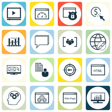 link building: Set Of SEO, Marketing And Advertising Icons On HTML Code, Link Building, Online Consulting And More. Premium Quality EPS10 Vector Illustration For Mobile, App, UI Design.