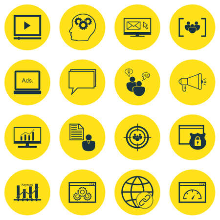 keywords advertise: Set Of SEO, Marketing And Advertising Icons On Display Advertising, Email Marketing, Keyword Ranking And More. Premium Quality EPS10 Vector Illustration For Mobile, App, UI Design. Illustration