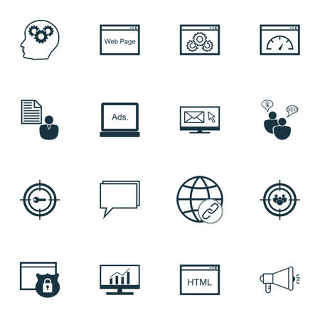 comprehensive: Set Of SEO, Marketing And Advertising Icons On Display Advertising, SEO Consulting, Comprehensive Analytics And More. Premium Quality EPS10 Vector Illustration For Mobile, App, UI Design. Illustration
