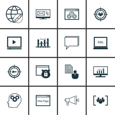 targeting: Set Of SEO, Marketing And Advertising Icons On Audience Targeting, Online Consulting, Website Protection And More. Premium Quality EPS10 Vector Illustration For Mobile, App, UI Design. Illustration