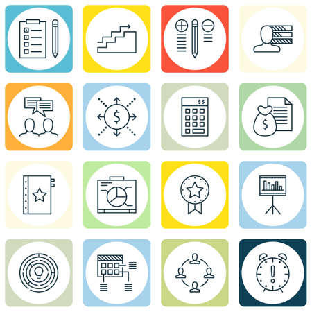 Set Of Project Management Icons On Planning, Personality, Money Revenue And More. Premium Quality EPS10 Vector Illustration For Mobile, App, UI Design.