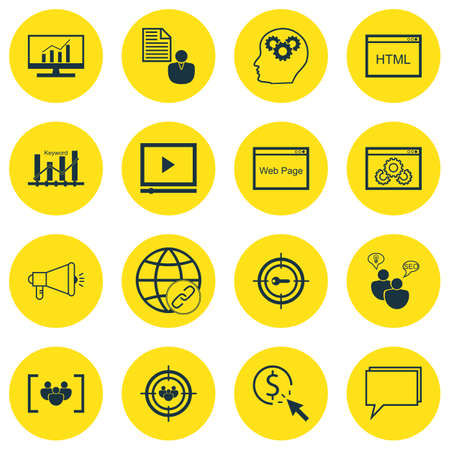 targeting: Set Of SEO, Marketing And Advertising Icons On Audience Targeting, Online Consulting, Target Keywords And More. Premium Quality EPS10 Vector Illustration For Mobile, App, UI Design. Illustration