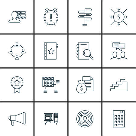 personality development: Set Of Project Management Icons On Personality, Promotion, Cash Flow And More. Premium Quality EPS10 Vector Illustration For Mobile, App, UI Design.