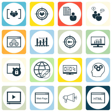 keyword: Set Of SEO, Marketing And Advertising Icons On Video Advertising, Keyword Ranking, Target Keywords And More. Premium Quality EPS10 Vector Illustration For Mobile, App, UI Design.