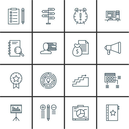 personality development: Set Of Project Management Icons On Creativity, Charts, Personality And More. Premium Quality EPS10 Vector Illustration For Mobile, App, UI Design. Illustration