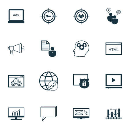 keyword: Set Of SEO, Marketing And Advertising Icons On Video Advertising, Target Keywords, Keyword Ranking And More. Premium Quality EPS10 Vector Illustration For Mobile, App, UI Design.