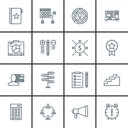 task list: Set Of Project Management Icons On Task List, Charts, Personality And More. Premium Quality EPS10 Vector Illustration For Mobile, App, UI Design.
