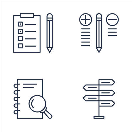 set of project management icons on best solution task list