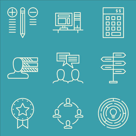 personality development: Set Of Project Management Icons On Team Meeting, Creativity, Investment And More. Premium Quality EPS10 Vector Illustration For Mobile, App, UI Design.