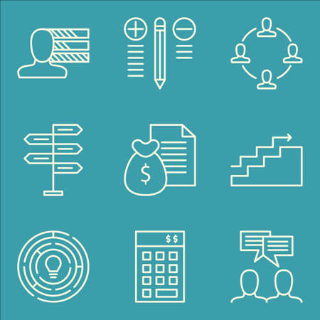 Set Of Project Management Icons On Teamwork, Personality, Decision Making And More. Premium Quality EPS10 Vector Illustration For Mobile, App, UI Design. Illustration