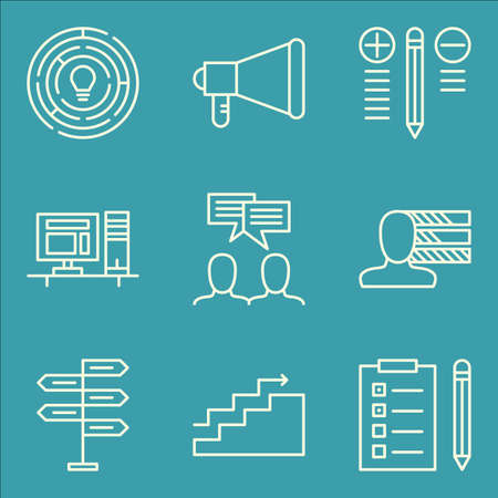 personality development: Set Of Project Management Icons On Personality, Creativity, Charts And More. Premium Quality EPS10 Vector Illustration For Mobile, App, UI Design.