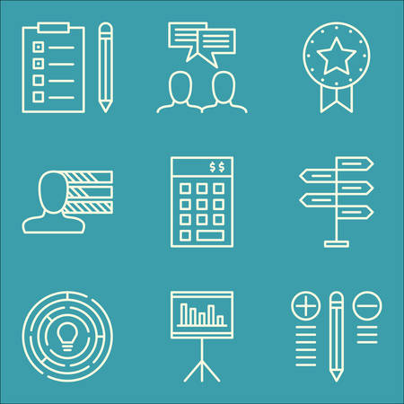 personality development: Set Of Project Management Icons On Decision Making, Team Meeting, Task List And More. Premium Quality EPS10 Vector Illustration For Mobile, App, UI Design.