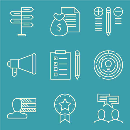 personality development: Set Of Project Management Icons On Best Solution, Team Meeting, Personality And More. Premium Quality EPS10 Vector Illustration For Mobile, App, UI Design.