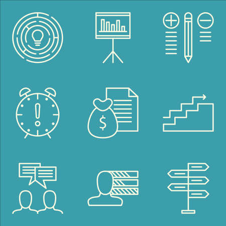 Set Of Project Management Icons On Team Meeting, Creativity, Deadline And More. Premium Quality EPS10 Vector Illustration For Mobile, App, UI Design.