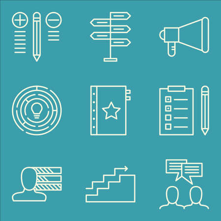 personality development: Set Of Project Management Icons On Charts, Promotion, Best Solution And More. Premium Quality EPS10 Vector Illustration For Mobile, App, UI Design.