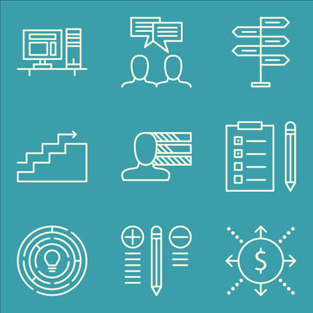 task list: Set Of Project Management Icons On Task List, Team Meeting, Personality And More. Premium Quality EPS10 Vector Illustration For Mobile, App, UI Design.