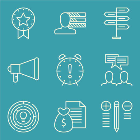 personality development: Set Of Project Management Icons On Personality, Deadline, Best Solution And More. Premium Quality EPS10 Vector Illustration For Mobile, App, UI Design.