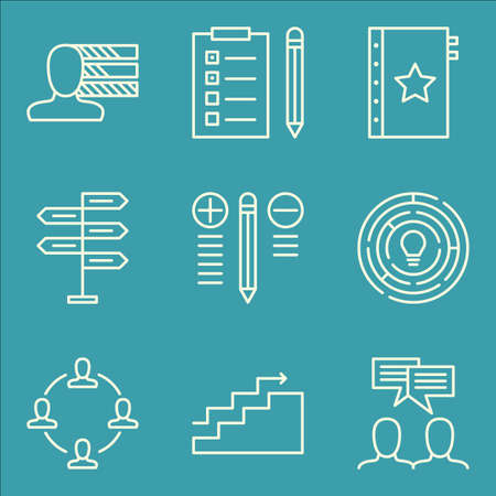 task list: Set Of Project Management Icons On Team Meeting, Quality Management, Task List And More. Premium Quality EPS10 Vector Illustration For Mobile, App, UI Design.